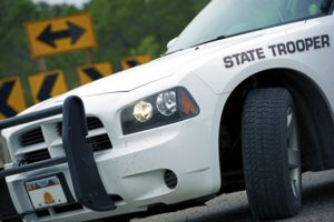 Police Cruiser State Trooper on a Highway. United States of America Police.