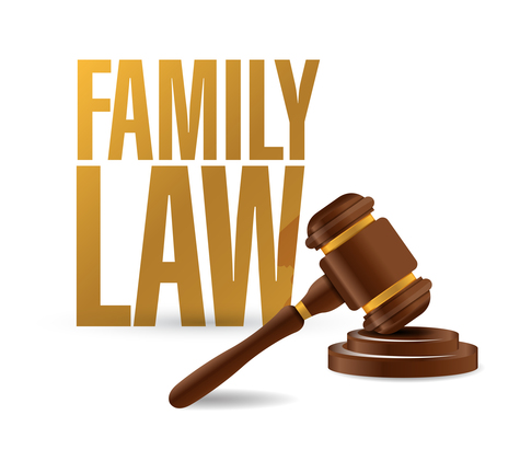 family law concept and hammer illustration